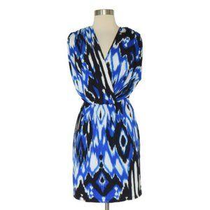 Boston Proper Blue Print Layered Surplice Dress